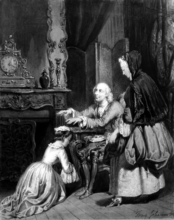 Old Man Blessing a Girl Kneeling