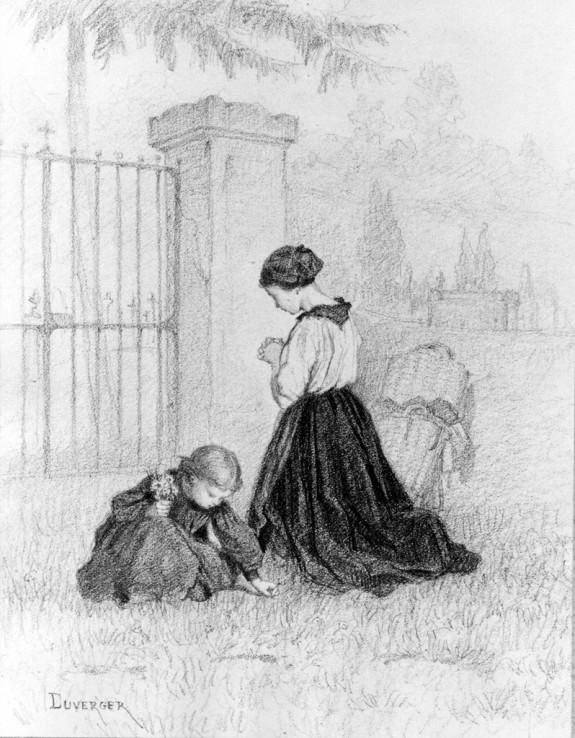 Woman Kneeling in Prayer in a Cemetery
