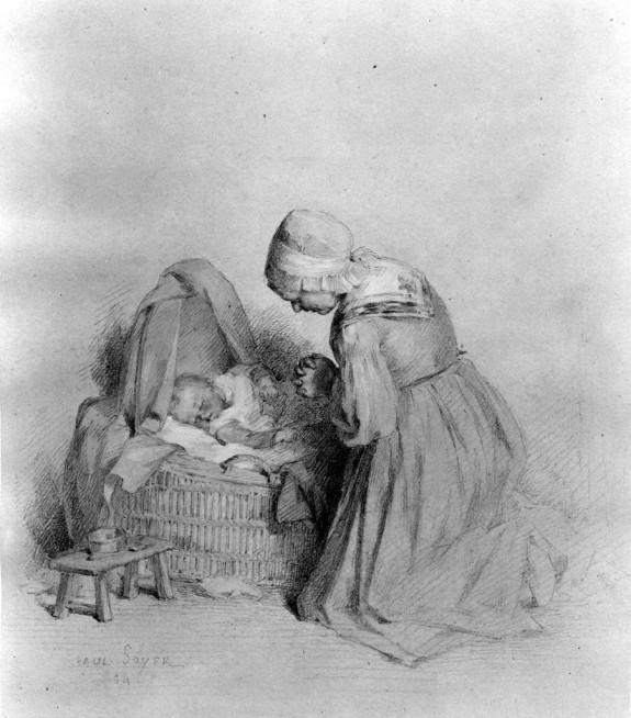 Woman Praying Beside Baby in Cradle