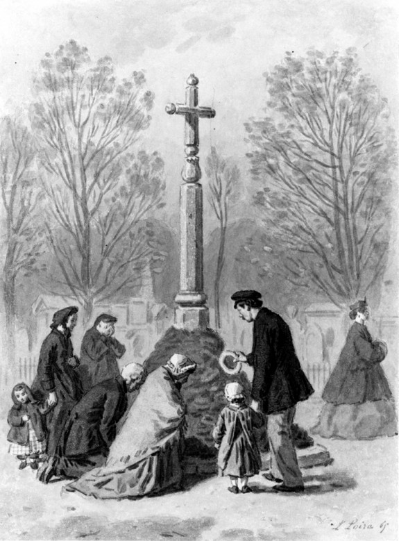 Group of Persons at the Foot of a Cross in the Cemetery