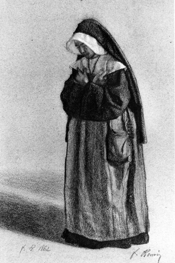 Nun Standing in Attitude of Prayer