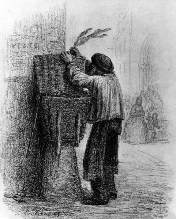 Old Man Placing Palm on Basket
