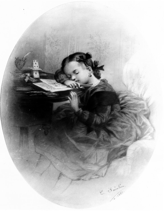 Little Girl Drowsing Over Her Drawing (Portrait of Jennie Walters?)