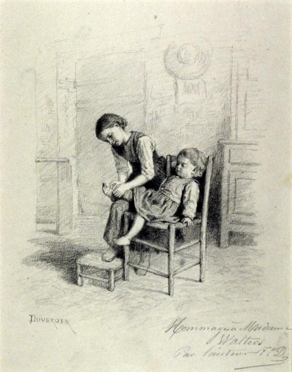 Little Girl Dressing Her Little Brother