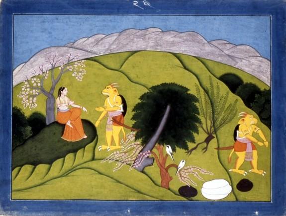 Devi with Shumbha's Messenger