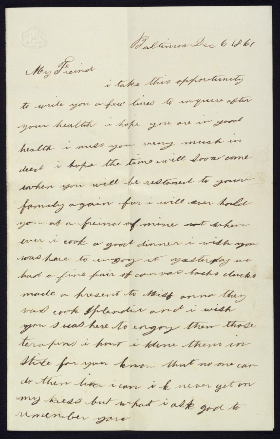 Autograph Letter from Sybby Grant to Her Master, John Hanson Thomas