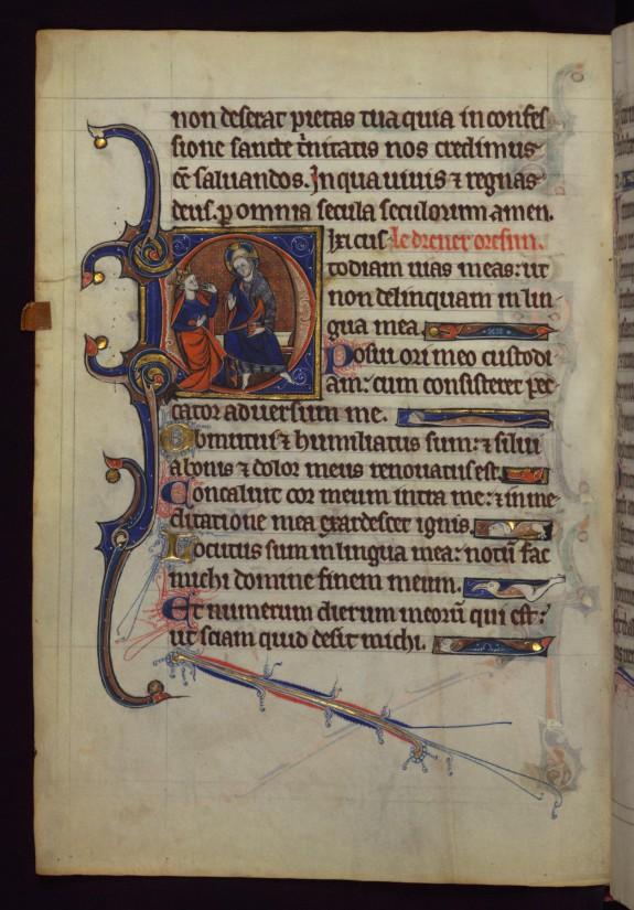 King David before God, pointing to his tongue