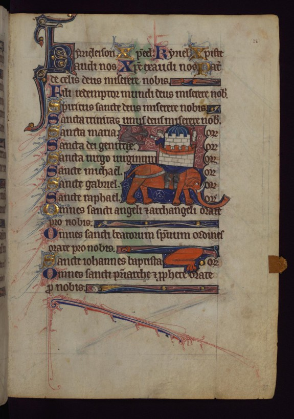 Leaf from Book of Hours: Elephant and Castle