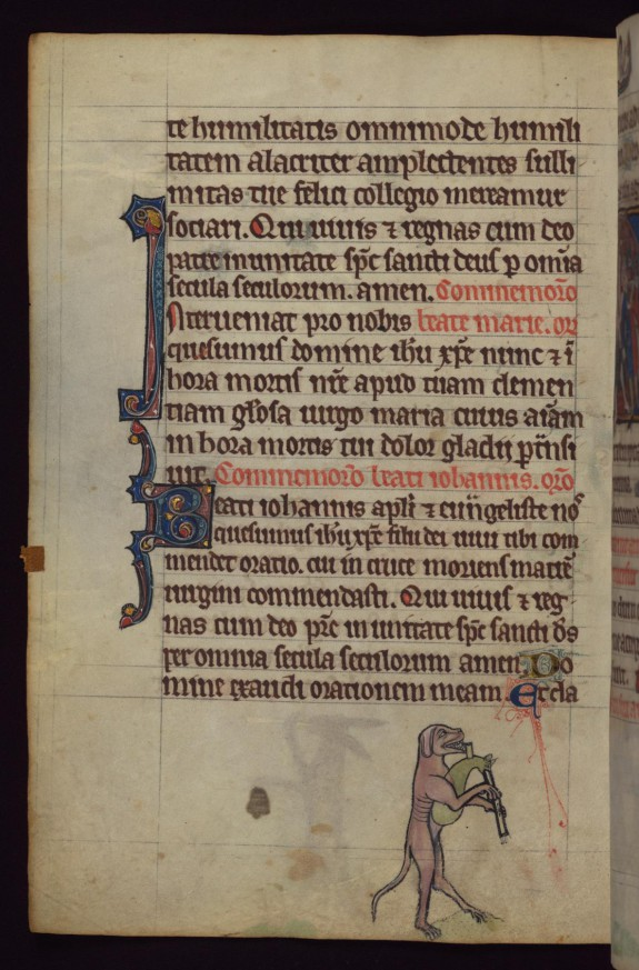 Dog playing bagpipes, from a marginal cycle of images of the funeral of Renard the Fox