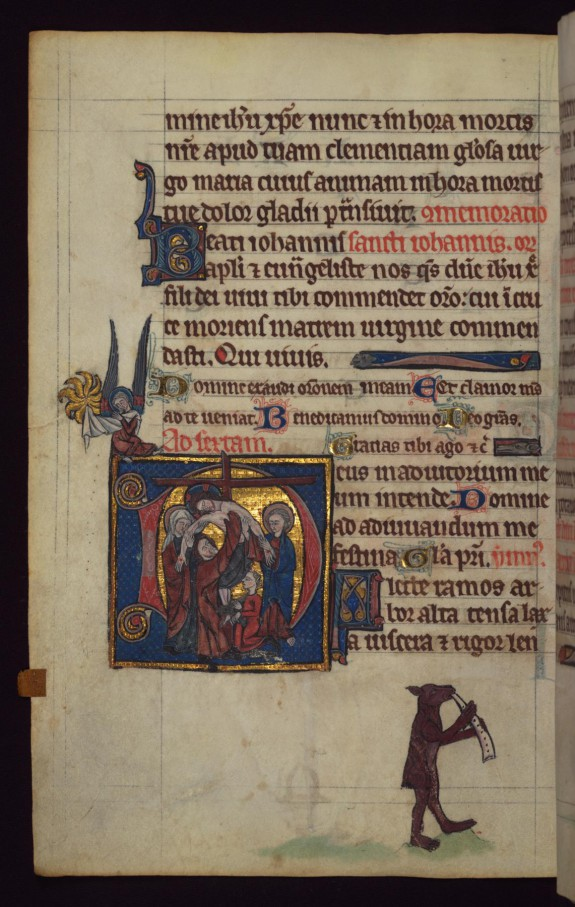 Leaf from Book of Hours: Deposition; Bear Blowing a Horn from a Marginal Cycle of Images of the Funeral of Renard the Fox
