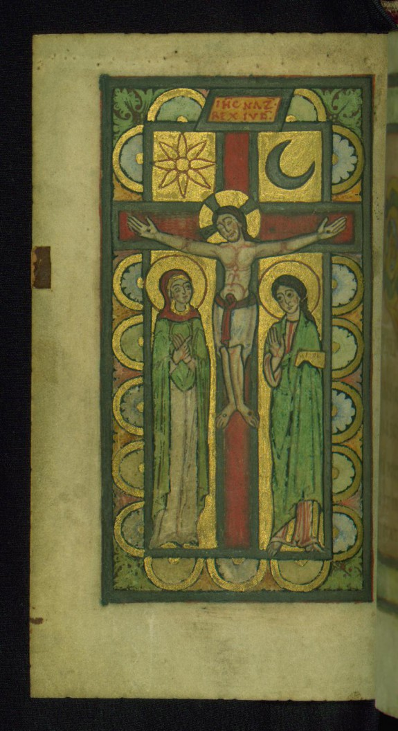 Leaf from Helmarshausen Psalter: Christ on the Cross with Mary and Saint John