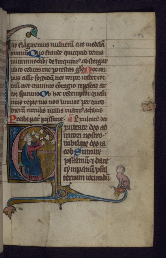 Initial E with David Playing Bells; Hybrid Creature in Margins
