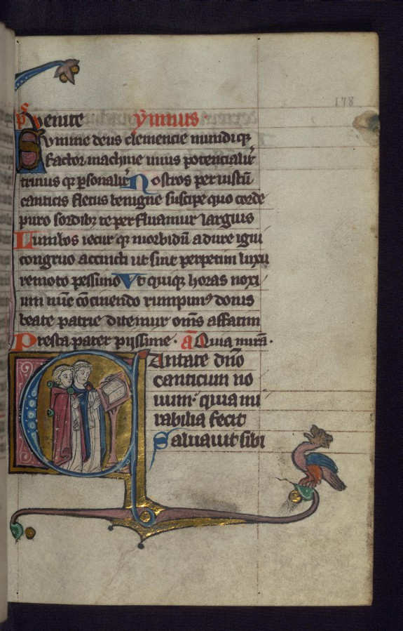 Initial C with Two Clerics at a Lectern; Hybrid Animal in Margins