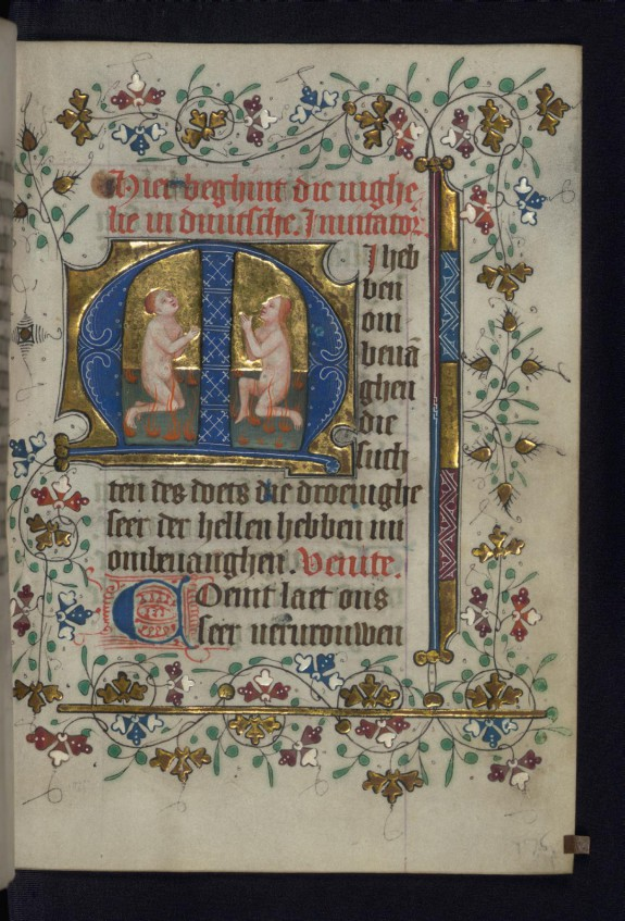 Two souls kneel in prayer in purgatory
