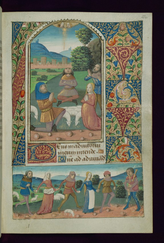 Leaf from Book of Hours: Annunciation to Shepherds and Shepherdess