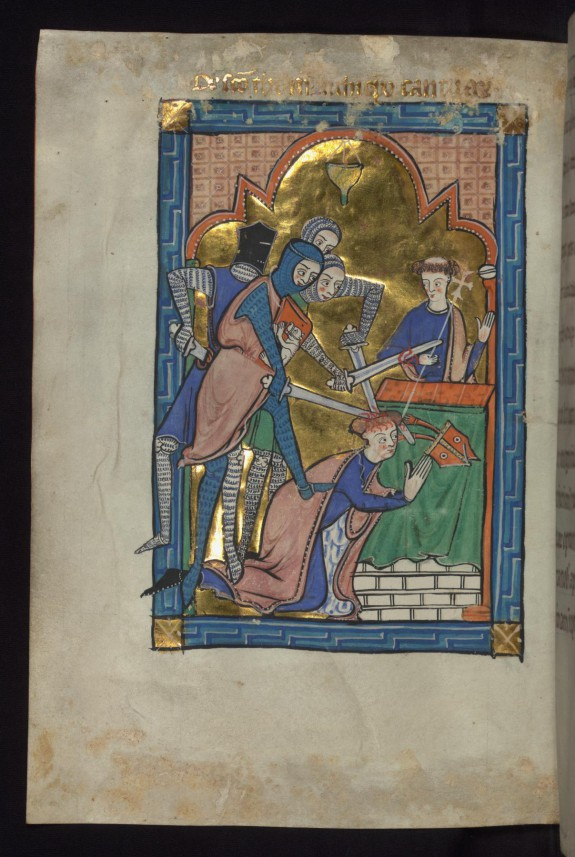 Leaf from Carrow Psalter: Martyrdom of Thomas Becket