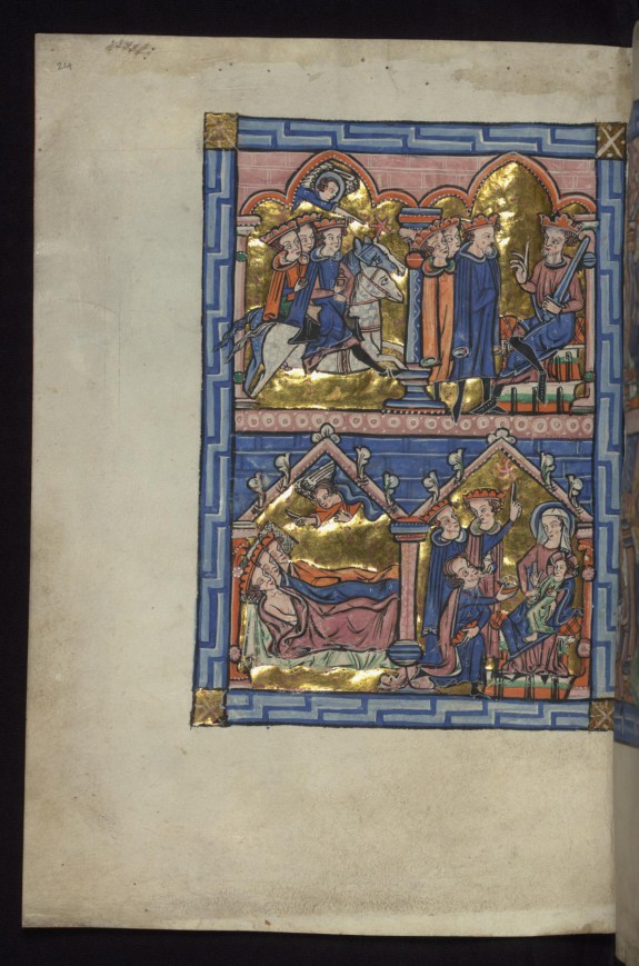 Above: Magi guided by star/Magi before Herod; Below: Magi warned in dream/Adoration of the Magi