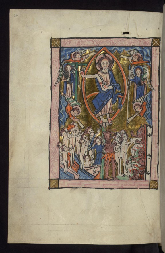 Above: Last Judgment with Christ in Majesty; Below: Resurrection of the dead, and Devil herding damned into Hell