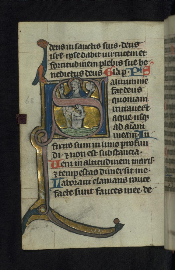 Initial S with Christ blessing and David in the sea