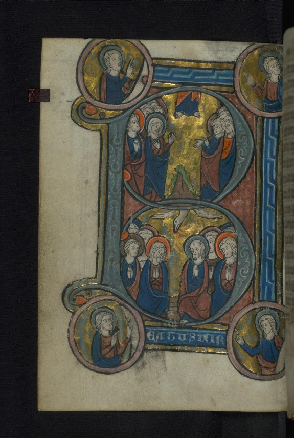 Initial B with Ascension and Pentecost