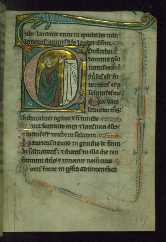 Leaf from Psalter of Jernoul de Camphaing: Initial C with King Praying before Altar