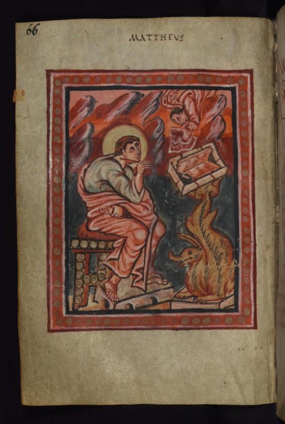 Leaf from the Freising Gospels: Portrait of the Evangelist Matthew