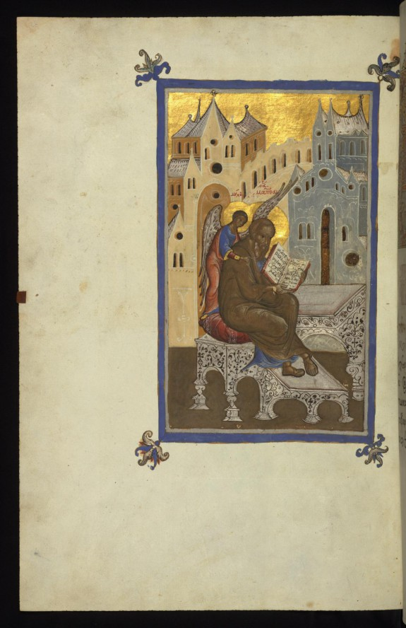 The Evangelist Matthew writing his Gospel, inspired by Wisdom