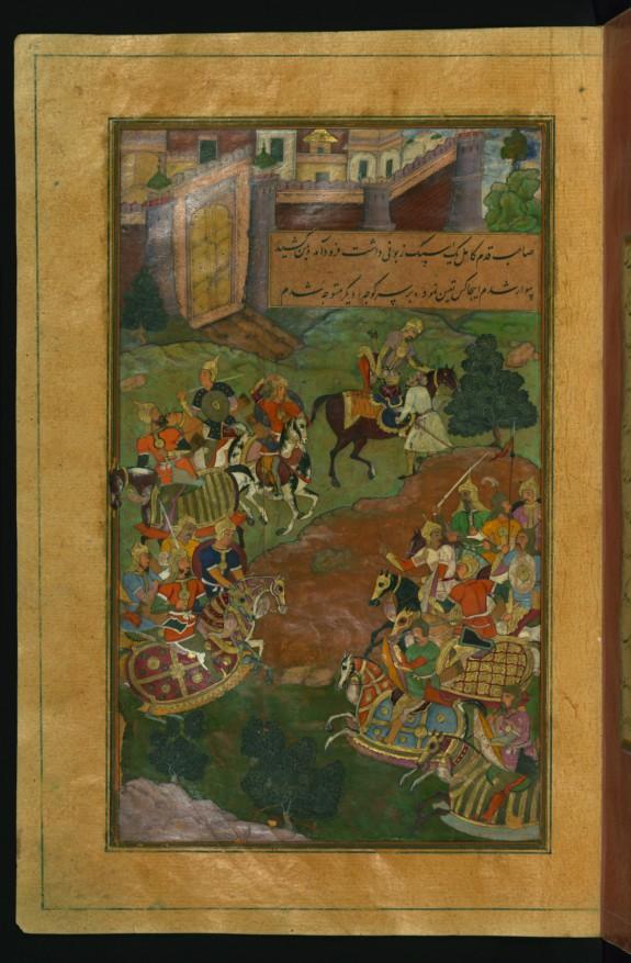 Sultan Muhammad Vays Offering Babur a Healthy Horse