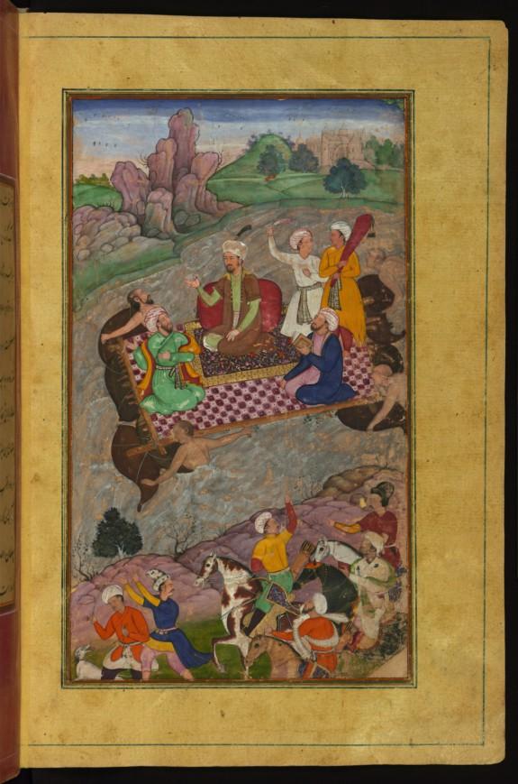 Babur Riding a Raft from Kunar Back to Atar