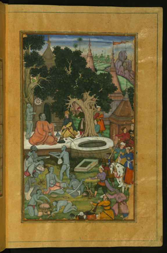 Babur and His Retinue Visiting Gor Khatri from the Baburnama (Book of Babur)