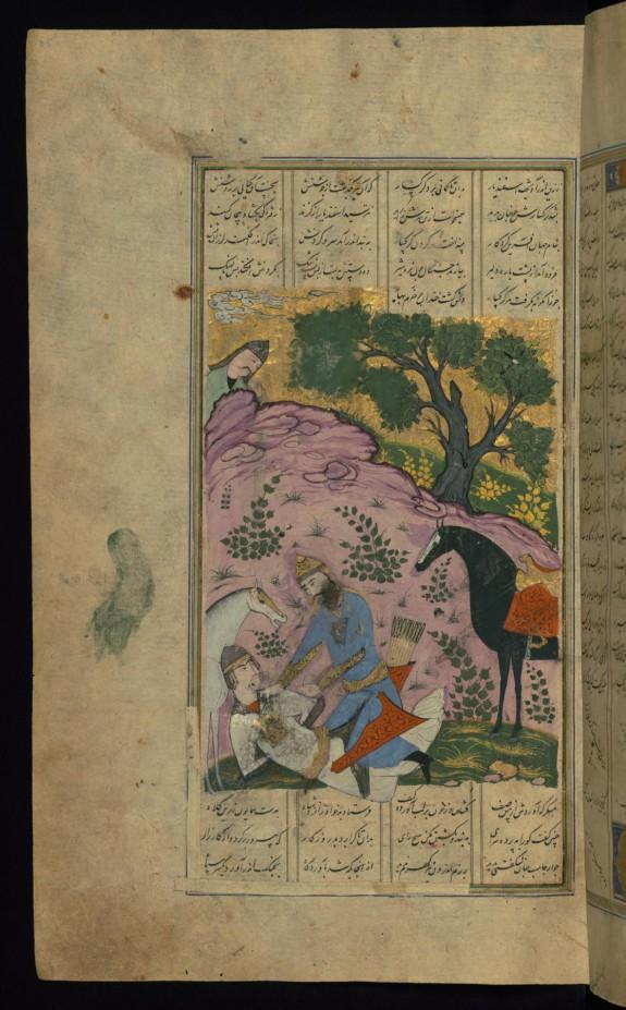 Isfandiyar Ties the Hands of Gurgsar and Takes him Prisoner
