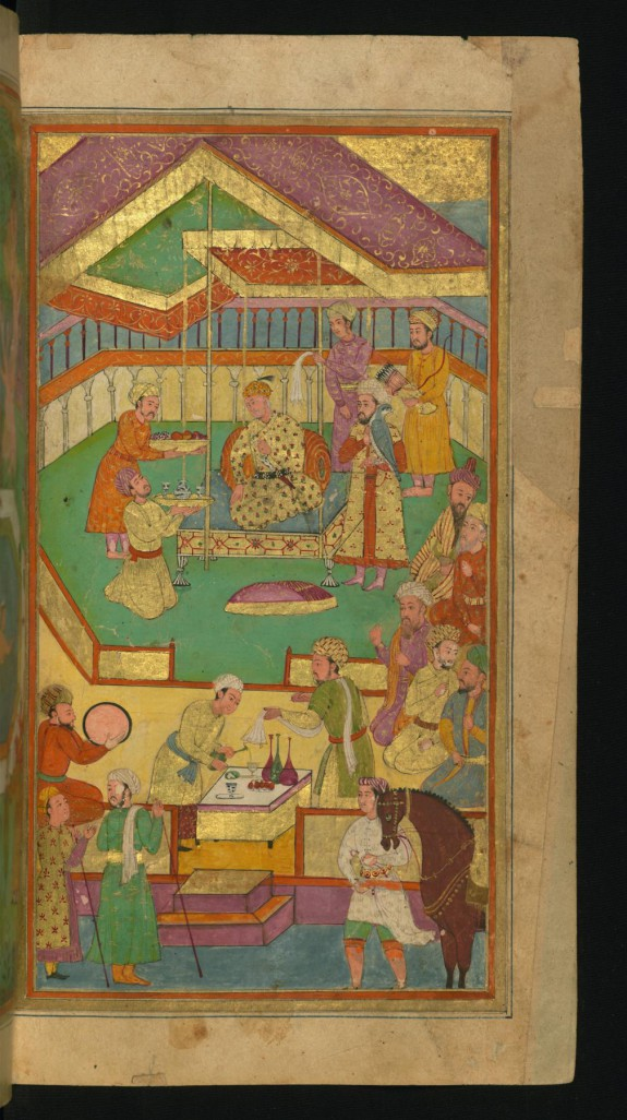 A Court Scene with Food and Music