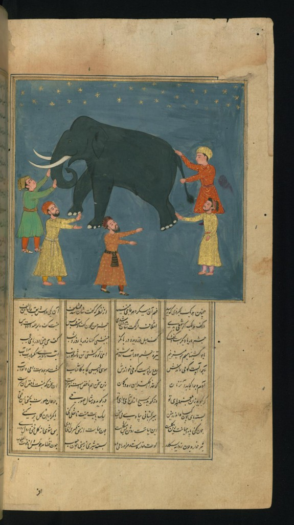 Townspeople, Who have Never Seen an Elephant, Examine its Appearance in the Dark
