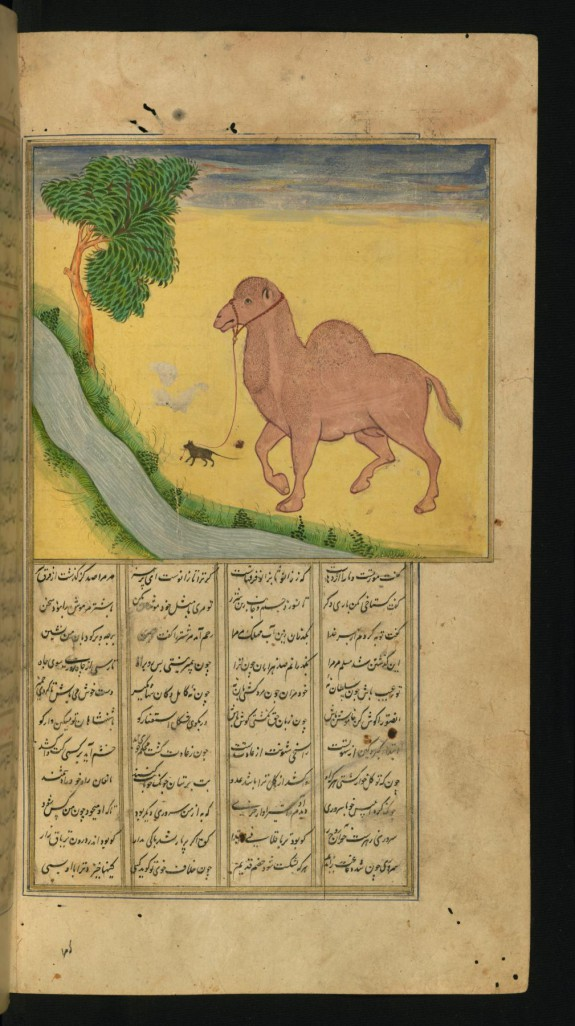A Mouse, Clutching the Reins of a Camel, at a Stream of Water
