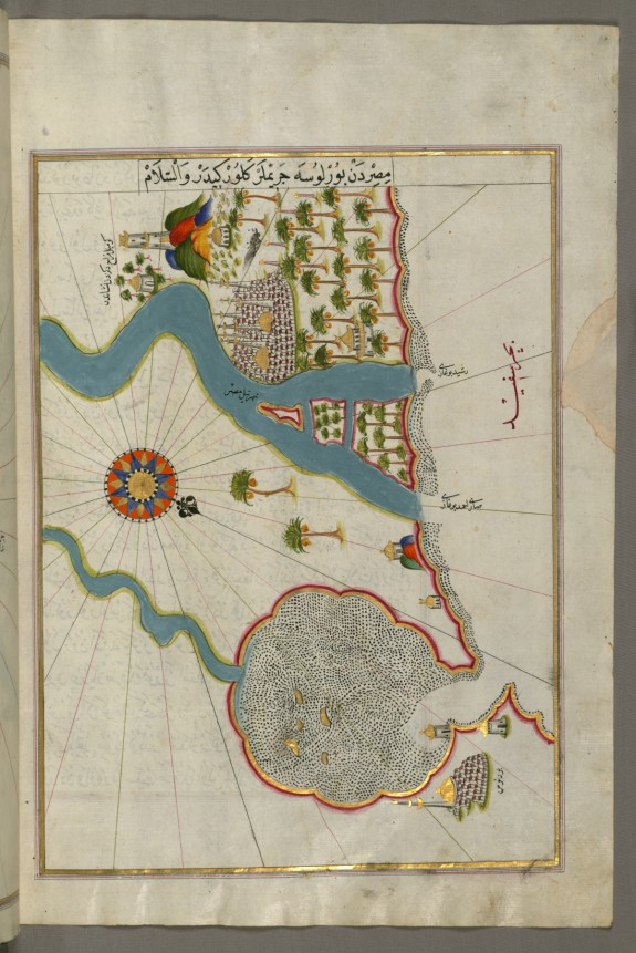 Map of the River Nile Estuary with the Cities of Rashid and Burullus on Each Side