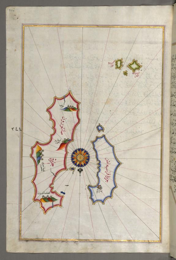 Map of Two Islands: Santorini and Thera in the Aegean Sea, North of Crete