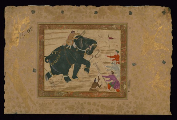 Single Leaf of an Elephant with Mahout Attacking Four Men