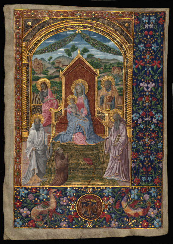 Miniature:virgin and child with saints; 20th c. painting on 14th c. Antiphonary