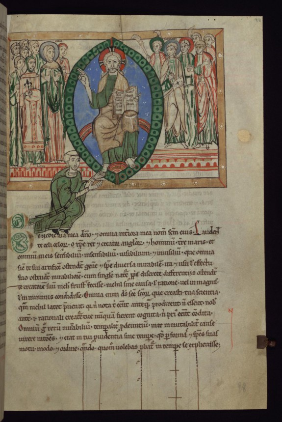 Leaf from Speculum Virginum: Christ in Majesty Flanked by Mary, John the Evangelist, and Saints with a Kneeling Monk