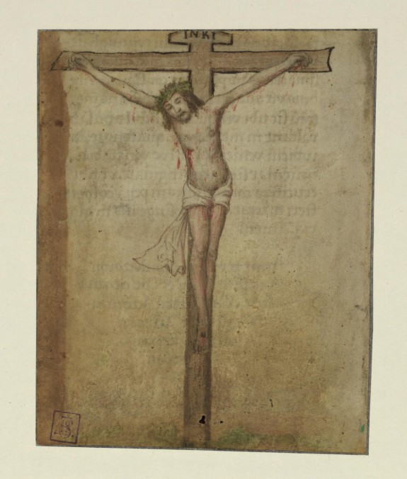 Single Leaf and Fragment with Crucifixion and Colophon