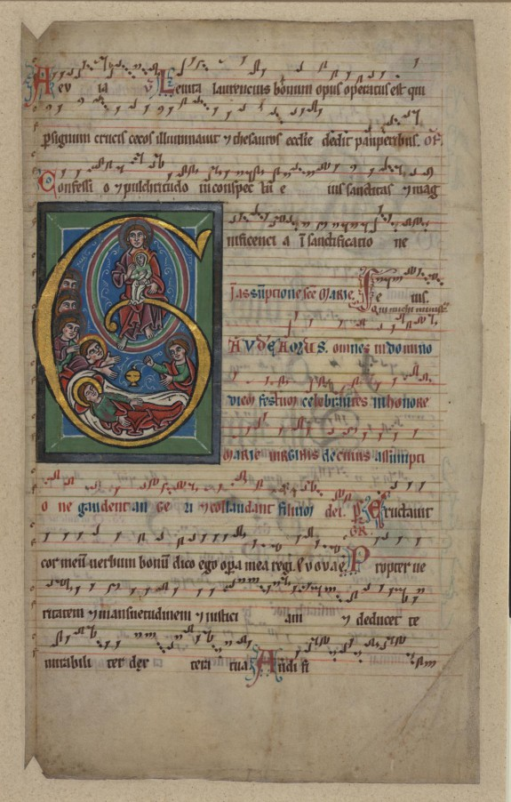 Single Leaf from a Gradual with the Assumption of the Virgin