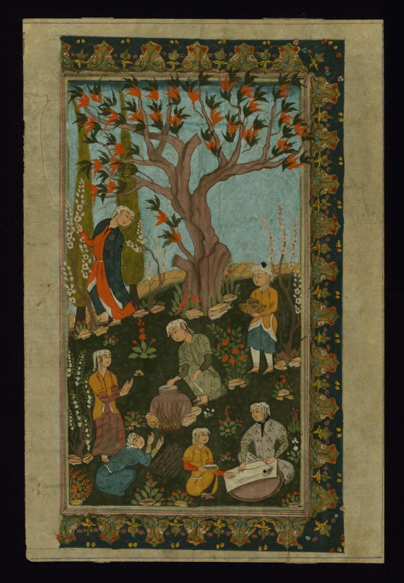 Single Leaf of an Outdoor Scene in the Safavid Style