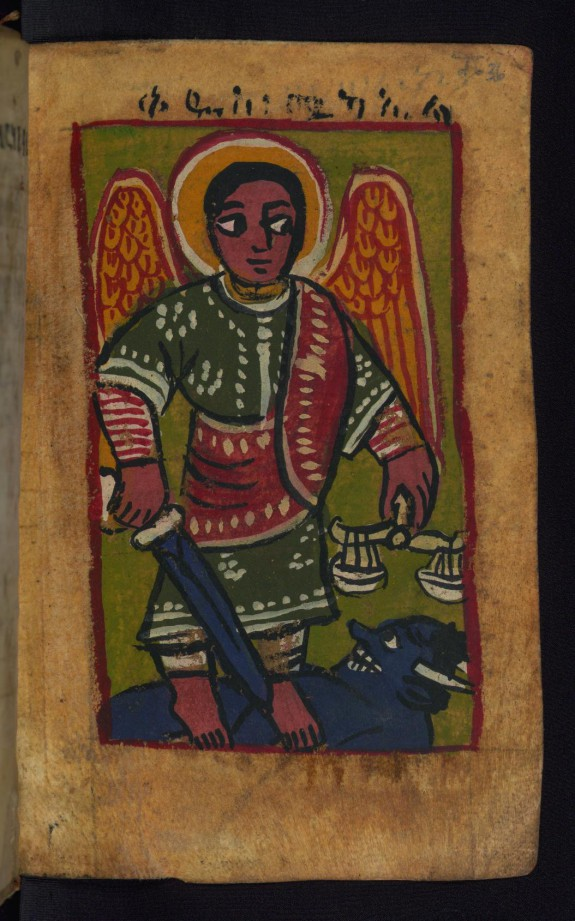St. Michael standing on the Devil