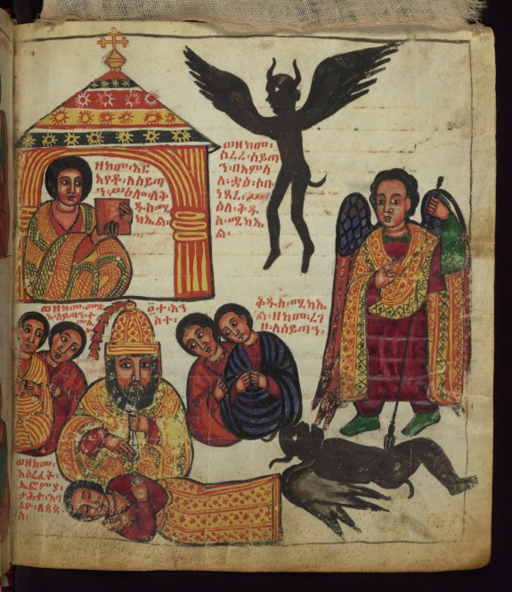 Above: How Satan flew away like a raven/crow when Euphemia showed him the picture of St. Michael;