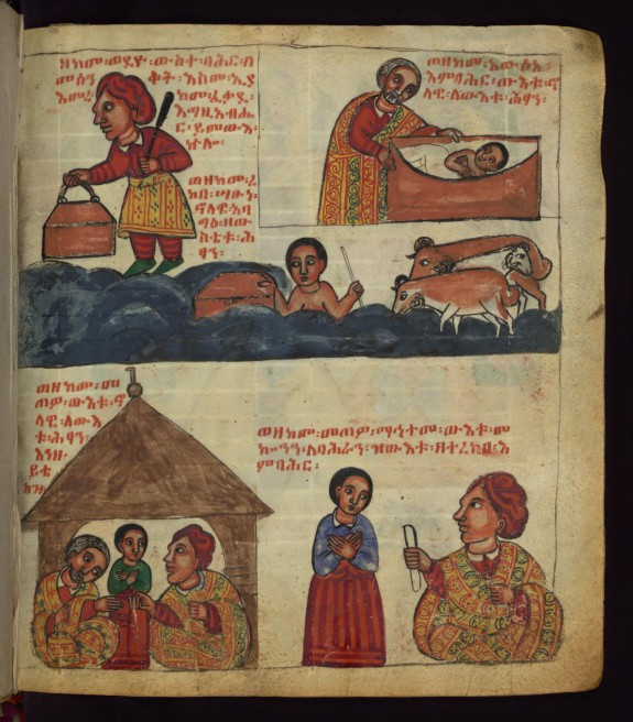 Above: How he put Bahran in a body of water, and how a shepherd found the child and brought him from the body of water; Below: How the shepherd delivered the child, and the nobleman gave a sealed letter to Bahran