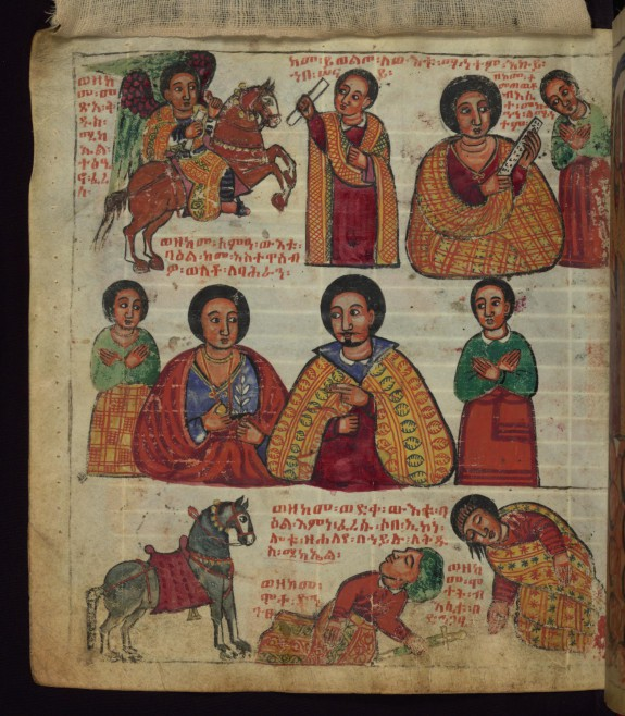 Above: How St. Michael came on horseback to change the bad content of the sealed letter to good, and how the wife of the nobleman received the letter; Middle: How the wealthy man heard that they married Ba?ran to his daughter; Below: How the wealthy man fell from his horse when what he planned did not happen, and how he and his wife died of shock