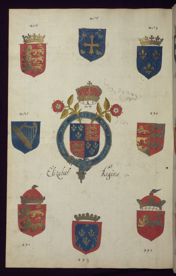 Leaf from a Book of English Heraldry: Arms of Elizabeth Regina