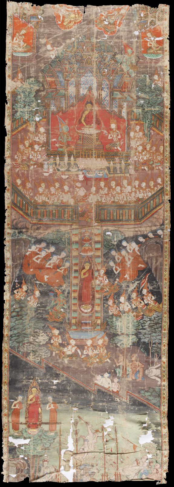 Scenes from the Life of the Buddha with the Buddha's Descent at Center