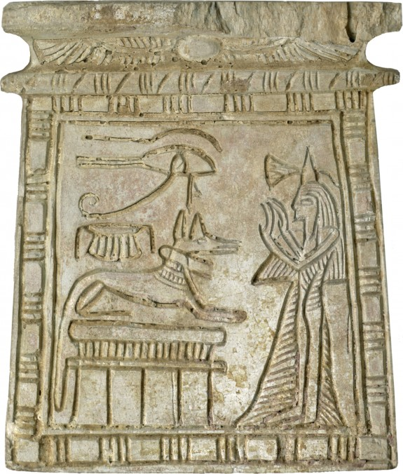 Pectoral with Female Worshiper and Anubis on Shrine