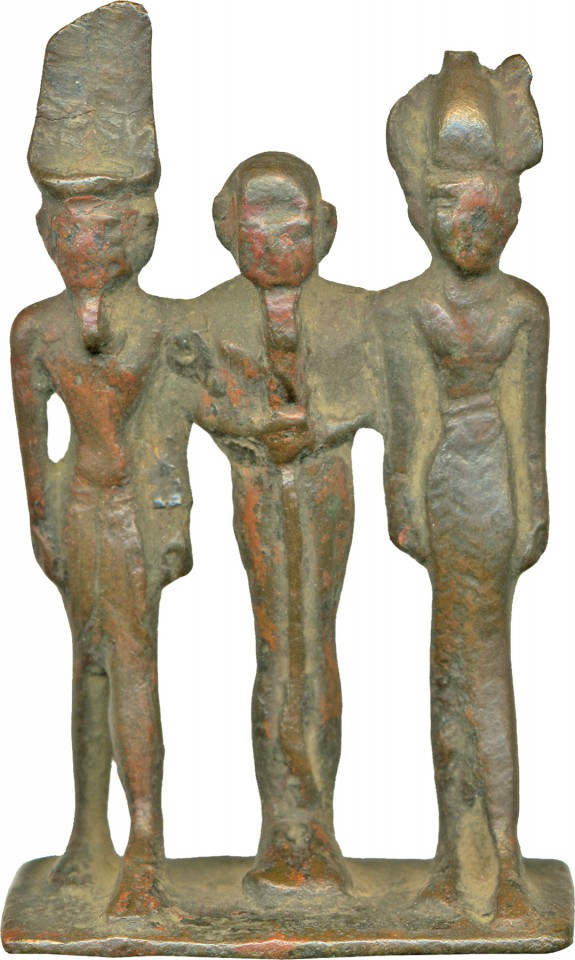 Divine Triad of Amun, Ptah and a Goddess Figure, Probably Hathor